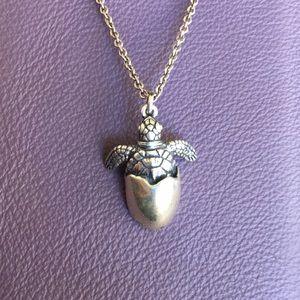 KARANA - Sterling Hatching turtle necklace